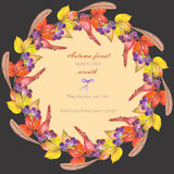 Circle frame, wreath with a floral ornament of the watercolor red autumn leaves on the branches and viburnum berries Stock Photo