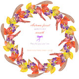 Circle frame, wreath with a floral ornament of the watercolor red autumn leaves on the branches and viburnum berries Royalty Free Stock Photo
