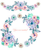 A circle frame, wreath and frame border (garland) with the watercolor flowers and succulents, wedding invitation. A circle frame, wreath and frame border ( Stock Image