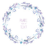 A circle frame, wreath, frame border with the watercolor blue berries and violet branches, wedding invitation Stock Images