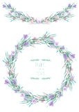 A circle frame, wreath, frame border with the watercolor crocus flowers and branches, wedding invitation Royalty Free Stock Photo