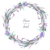 A circle frame, wreath, frame border with the watercolor crocus flowers and branches, wedding invitation Royalty Free Stock Photos
