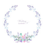 A circle frame, wreath, frame border with the watercolor flowers, feathers and branches, wedding invitation Stock Photo