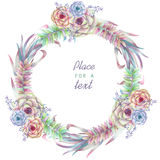 A circle frame, wreath, frame border with the watercolor flowers and succulents, wedding invitation Royalty Free Stock Photo