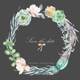 A circle frame, wreath, frame border with the watercolor flowers and succulents, wedding invitation Stock Photo