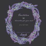 A circle frame, wreath, frame border with the watercolor lavender flowers, wedding invitation Royalty Free Stock Image