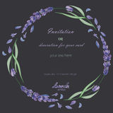 A circle frame, wreath, frame border with the watercolor lavender flowers, wedding invitation Stock Photo