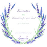 A circle frame, wreath, frame border with the watercolor lavender flowers, wedding invitation. A frame, wreath, frame border for a text with the watercolor Stock Photo