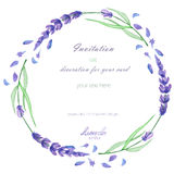 A circle frame, wreath, frame border with the watercolor lavender flowers, wedding invitation. A frame, wreath, frame border for a text with the watercolor Stock Photos