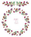 A circle frame, wreath and garland with the watercolor forest berries (blackberry) Stock Images