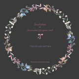 Circle frame, wreath of the pastel branches and flowers. Hand drawn in a watercolor on a dark background, greeting card, decoration postcard or invitation Stock Photography
