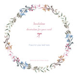 Circle frame, wreath of the pastel branches and flowers, hand drawn in a watercolor on a white background. Greeting card, decoration postcard or invitation Royalty Free Stock Image