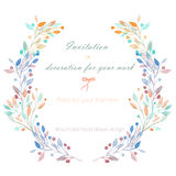 Circle frame, wreath of the pastel  branches, hand drawn in a watercolor on a white background Royalty Free Stock Photos