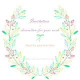 Circle frame, wreath of the pastel green branches and purple berries, hand drawn in a watercolor on a white background Royalty Free Stock Image