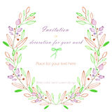 Circle frame, wreath of the pastel green and brown branches and purple berries, hand drawn in a watercolor on a white background. Greeting card, decoration Royalty Free Stock Images