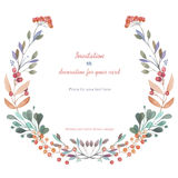 Circle frame, wreath of the pink and green branches, hand drawn in a watercolor on a white background, greeting card Royalty Free Stock Photos