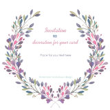 Circle frame, wreath of the pink and green branches, hand drawn in a watercolor on a white background Stock Photos