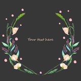 Circle frame, wreath of pink wildflowers and green spikes Stock Photo