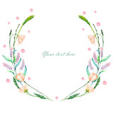 Circle frame, wreath of pink wildflowers and green spikes Royalty Free Stock Images