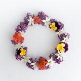 Circle frame, wreath of purple flowers on a white background, greeting card, decoration postcard or invitation Stock Photos