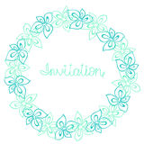 Circle frame, wreath of turquoise, blue and mint flowers, greeting card, decoration postcard or invitation Stock Photography