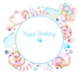 Circle frame, wreath with watercolor cute pink sheeps, air balloons, plants and clouds illustrations vector illustration