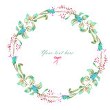 Circle frame, wreath of watercolor floral elements Stock Photography