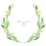 Circle frame, wreath of watercolor pink flowers, spikes and green leaves Stock Photos