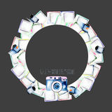 Circle frame, wreath with watercolor polaroid snapshots royalty free illustration