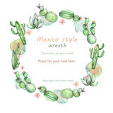 Circle frame, wreath of the watercolor various kinds of cactuses, hand drawn on a white background, greeting card Royalty Free Stock Image