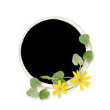 Circle frame with yellow flowers Stock Photography