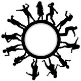 Circle frames with children silhouettes dancing. Circle frames with happy children silhouettes dancing Royalty Free Stock Images