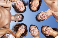 Circle of friends on blue sky Royalty Free Stock Photo
