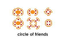 Circle of friends in meeting. Circle of friends illustration, concept for teamwork meeting friendship togetherness and power Stock Images