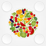 Circle of fruits and vegetables with copy space. Stock Images