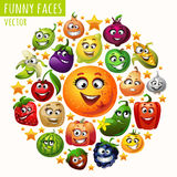 The circle of fruits and vegetables funny faces Royalty Free Stock Photography