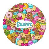 Circle from the funny sweets, fruit and ice cream. Donuts, cupcakes, cakes and cookies Stock Photography