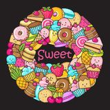 Circle from the funny sweets, fruit and ice cream. Donuts, cupcakes, cakes and cookies Royalty Free Stock Photo