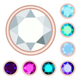 Circle gemstone set. No gradient Stock Image
