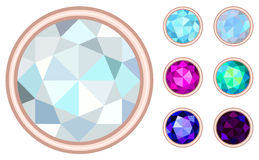 Circle gemstone set Royalty Free Stock Photography