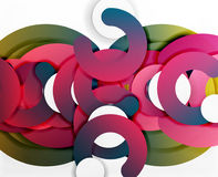 Circle geometric abstract background, colorful business or technology design for web. Paper round shapes - rings, geometric 3d style texture, banner Royalty Free Stock Images