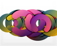 Circle geometric abstract background, colorful business or technology design for web. Paper round shapes - rings, geometric 3d style texture, banner Royalty Free Stock Image