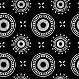 Circle geometric seamless pattern on a black background Royalty Free Stock Images