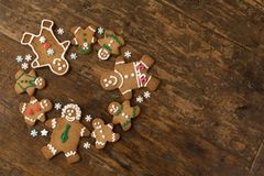 Circle of gingerbread cookies stock photography