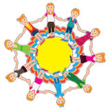 Circle Girls_eps. Illustration of kids holding hand stand on flower circle with white background Stock Photography