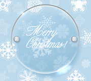 Circle glass board and christmas background Stock Photos