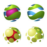 Circle globe logo icons. Colorful spiral spheres. World globe icons. Suitable for icon, logo etc Stock Image