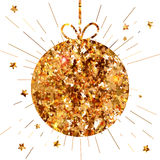 Circle Gold Banner with bow at white Royalty Free Stock Image