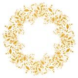 Circle gold floral frame in doodle style. On white background. Elegant hand drawn flourish border or frame for greeting card, postcard, invitation, banner vector illustration