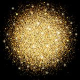 The circle of gold sparkles, magical glow bright design for decoration. Template design for the New Year, Christmas and holidays. Vector illustration Royalty Free Stock Images